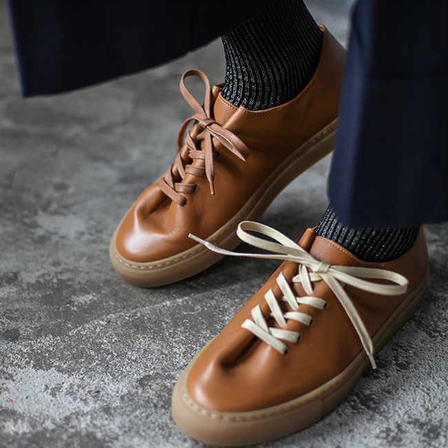 HERVE NATURAL CALF TAN with Fancy socks
