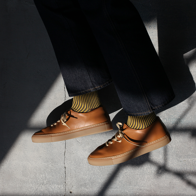 HERVE NATURAL CALF TAN with Solemn socks